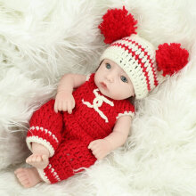 [COZIME] 28CM Brown Hair Baby Kids Reborn Baby Doll Soft Vinyl Lifelike Newborn Doll Red1