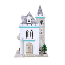[OUTAD] Moonlight Castle Dollhouse DIY 3D Miniature Doll House Model Building Kits multicolor