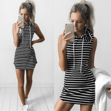 outdoor520 Sexy Women Boho Summer Hooded Bodycon Sleeveless Sexy Party Cocktail Mini Dress Black L