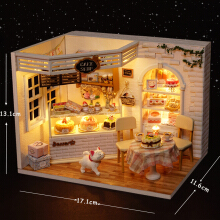 Jantens FULL-Doll House Furniture Diy Miniature Dust Cover 3D Wooden Miniaturas Dollhouse Toys for Photo Color