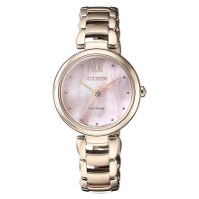 Citizen EM0533-82Y Eco-Drive Ladies Pink Dial Gold Stainless Steel Strap [EM0533-82Y]