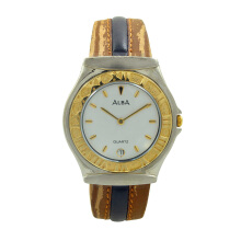 ALBA Jam Tangan Pria - Brown Silver Gold - Leather Strap - AXB56G