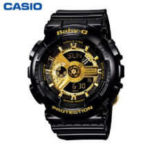 Casio Baby-G BA-110-1A Sports waterproof electronic watch-Black&Golden