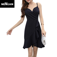 Newlan Asymmetrical Italian noodle belt summer dress women new fashion chiffon V-neck dress casual dress