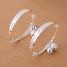 Farfi New Gift 2pcs Silver Plated Baby Kid Bell Bangle Bracelet English Letter