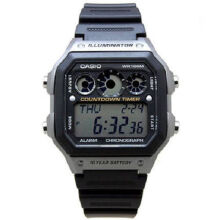 Casio AE-1300WHD-8A Sports double display waterproof electronic watch-Silver&Black