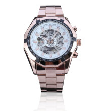 Forsining Waterproof Automatic Mechanical Watch with Skeleton Dial for Men Rose Gold