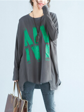 Casual Letter Print Irregular Long Sleeve O-neck T-shirts For Women Black One Size