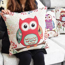 Farfi Clever Owls Home Car Decoration Linen Pillow Case Pillow Cover Pillowslip