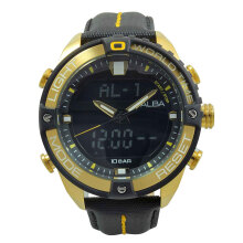 ALBA Jam Tangan Pria - Black Gold - Leather Strap - AZ4020
