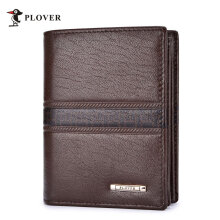 [LESHP]PLOVER GD5206-B Soft Durable Leather Casual Man Short Wallet Card Holder Brown Brown
