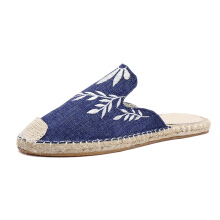 Flowers Embroidery Women Ladies Casual Espadrilles Hemp Rope Shoes White 36