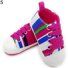 Farfi Girl's Boy's Rainbow Canvas Shoes Prewalkers Anti-Slip Baby Shoes