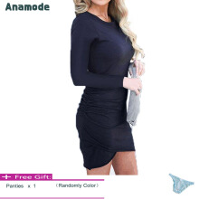 Anamode Women Stretch Dresses Slim Bodycon V-Neck Mini Dress Irregular Hem -Navy -