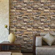 Farfi Rustic 3D Effect Wallpaper Brick Stone Self-adhesive Wall Sticker Decal Decor as the pictures