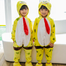 SESIBI Size 100~140 Kids Cartoon Clothes Parent-Child Homewear Siamese Pajamas Suit -Spongebob