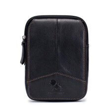 LAOSHIZI Vintage Personality First Layer Leather Men's Waist Bag