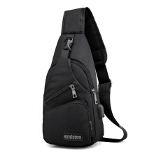 Aosen Men's Excellent Casual Chestpack with USB Charging Outdoor Cycling Small Canvas Shoulerbag