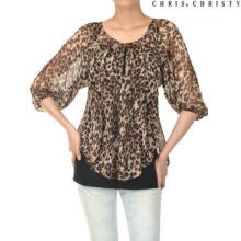 CHRIS CHRISTY woman animal shirring blouse BW (KCYNSMM2421) Brown 85