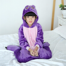 SESIBI Size 100~140 Kids Cartoon Clothes Parent-Child Homewear Siamese Pajamas Suit -Purple Cat