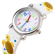 Keymao Turtle Waterproof 3D Cute Cartoon Silicone Wristwatches Gift for Little Girls Boy Kids Children White