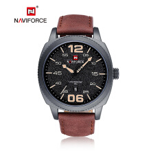 NAVIFORCE Men Quartz Sports Watches Auto Date Clock Leather Fashion Wristwatch 9127