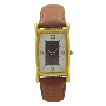 ALBA Jam Tangan Pria - Brown Gold White - Leather Strap - ATCX94