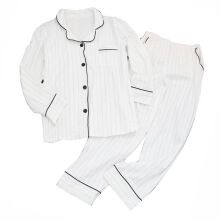 Jantens White Striped Pajamas Sets Women 2018 Casual Cotton Long Sleeve Sleepwear Suit