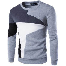 Fashionmall Casual Color Block Long Sleeve Pullover Sweater for Men