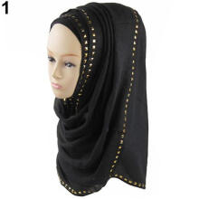 Farfi Women's Muslim Long Soft Hijab Rivet Islamic Scarf Cotton Shawl Head Wear Hat