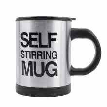 Automatic Stainless Steel Mixing Coffee Tea Cup Drinkware Lazy Self Stiring Mug Button Pressing Black