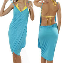 Farfi Sexy Womens Lady Deep V-Neck Open-Back Beach Wear Swimwear Bikini Cover Up Dress