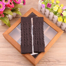 Winter Female Wool Half Finger Gloves Twist Knit Warm Couple Riding Playing black