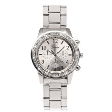 [LESHP]Geneva Bling Crystal Women Girl Unisex Stainless Steel Quartz Wrist Watch Silver