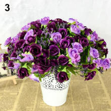 Farfi Fake Rose Flowers Artificial Floral Plant Wedding Party Decor 21 Heads on 1 Bouquet