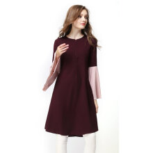 [kingstore] Stitching Color Pagoda Sleeve Women Islamic Long Dress Elegant Muslim Robe Dark Red Size M