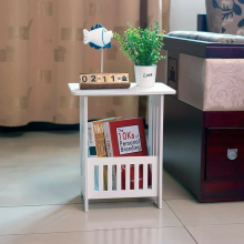 ZK STORE BEDSIDE TABLE Meja Sudut Coffee Table Meja Ngopi Meja Majalah White