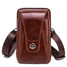 Zanzea Men Genuine Leather Vintage Waist Bag Business Crossbody Bag Cell Phone Bag for 6 inch Phones Brown