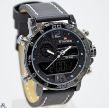Naviforce Jam Tangan Pria -D44H185NF9134HTMPTH -Dual Time -Leather Srap-Hitam Putih Black