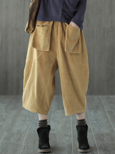 Casual Corduroy Elastic Waist Harem Pants for Women Green One Size