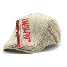 Zanzea 0051Unisex Cotton Denim Jeans Washed Beret Hat Paper Boy Zipper Decorative Duckbill Buckle Cabbie Cap Wine Red