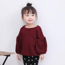Toddler Infant Baby Kids Girls Solid Lantern Sleeve Shirt Tops Outfits Clothes 110cm