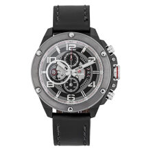 Expedition E 6752 MC LEPBA Man Chronograph Black Dial Black Leather Strap [EXF-6752-MCLEPBA]