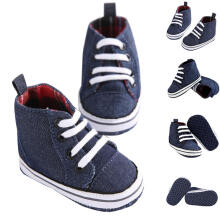 Farfi Toddler Baby Boys Anti-Slip Sole Hightop Canvas Crib Prewalker Shoes