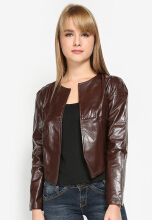 Mobile Power Ladies Cropped Synthetic Leather Blazzer - Brown K7106