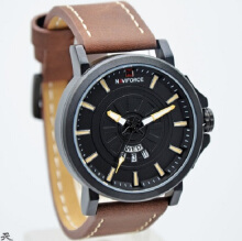 Naviforce Jam Tangan Pria -D45H151NF9125MBCKT-Analog -Leather Srap-Coklat Hitam Brown