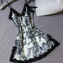 Farfi Women Sexy V-Neck Noble Lingerie Bowknot Sleepwear Nightwear Lace Babydoll Dress