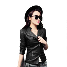 Women PU Leather Jacket Solid Color Long Sleeve Motorcycle Outwear Coat M