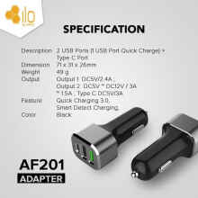 HIppo Ilo CF201 Car Charger Quick Fast Charging 3.0 Simple pack - Hitam