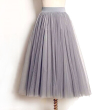 Newlan BD03 Summer retro skirt women stretch high waist tulle gauze skirt long pleated skirt